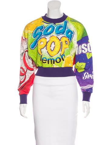 Moschino Couture Graphic Print Cropped Sweater None