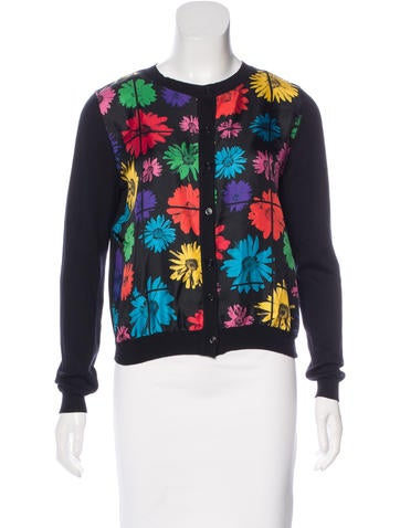 Moschino Couture Floral Print Virgin Wool Cardigan None