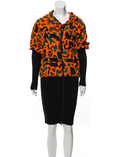 Moschino Couture Hooded Knee-Length Dress Orange