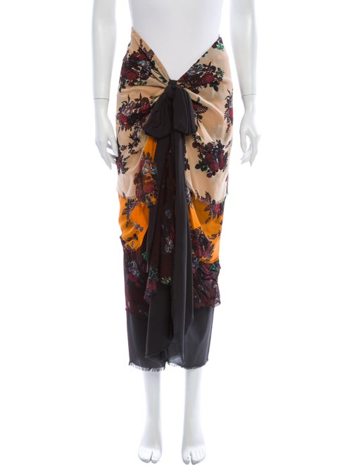 Moschino Couture Silk Midi Length Skirt