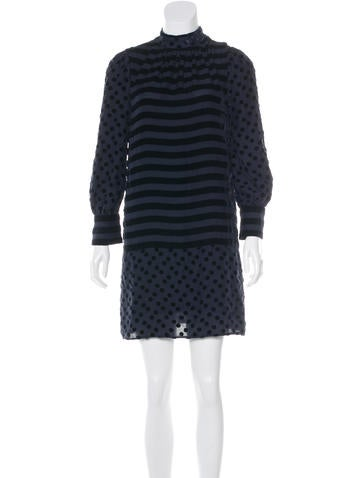 Marc by Marc Jacobs Velvet-Accented Mini Dress None