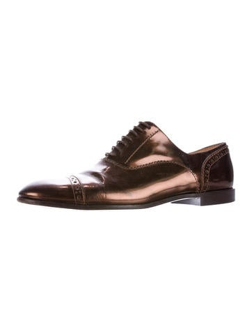 Patent Leather Round-Toe Oxfords