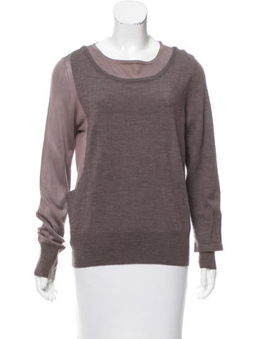 Marc by Marc Jacobs Silk-Paneled Merino Wool Sweater None