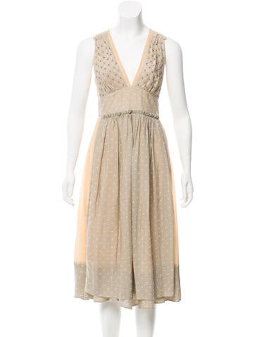 Marc by Marc Jacobs Silk-Paneled Midi Dress None