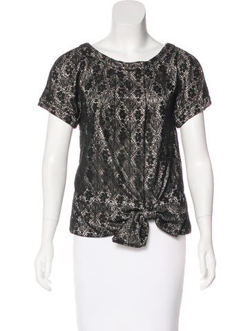 Marc by Marc Jacobs Metallic Lace Short Sleeve Top None