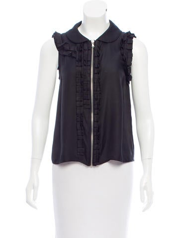 Marc by Marc Jacobs Ruffle-Trimmed Silk Top None
