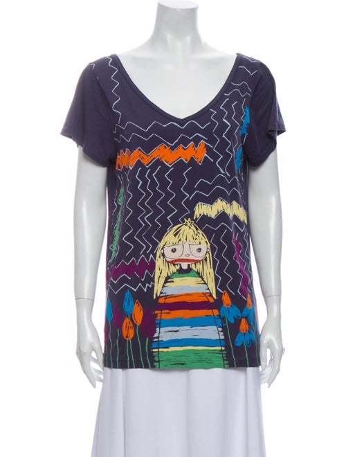 Marc by Marc Jacobs Printed V-Neck T-Shirt Blue