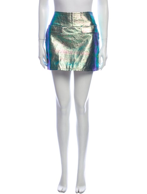 Marc by Marc Jacobs Leather Mini Skirt Metallic