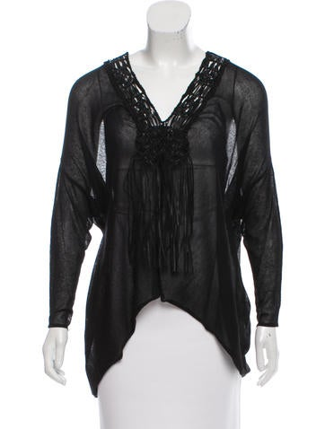 Malandrino Sheer Fringe-Trimmed Top w/ Tags None