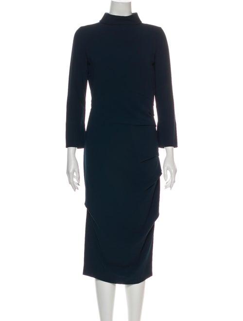 Malia Mills Turtleneck Midi Length Dress Blue