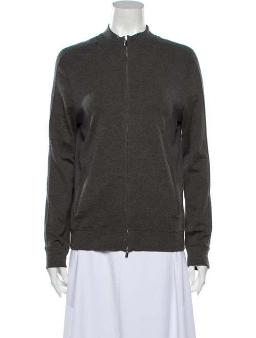 Manrico Cashmere Cashmere Mock Neck Sweater Grey