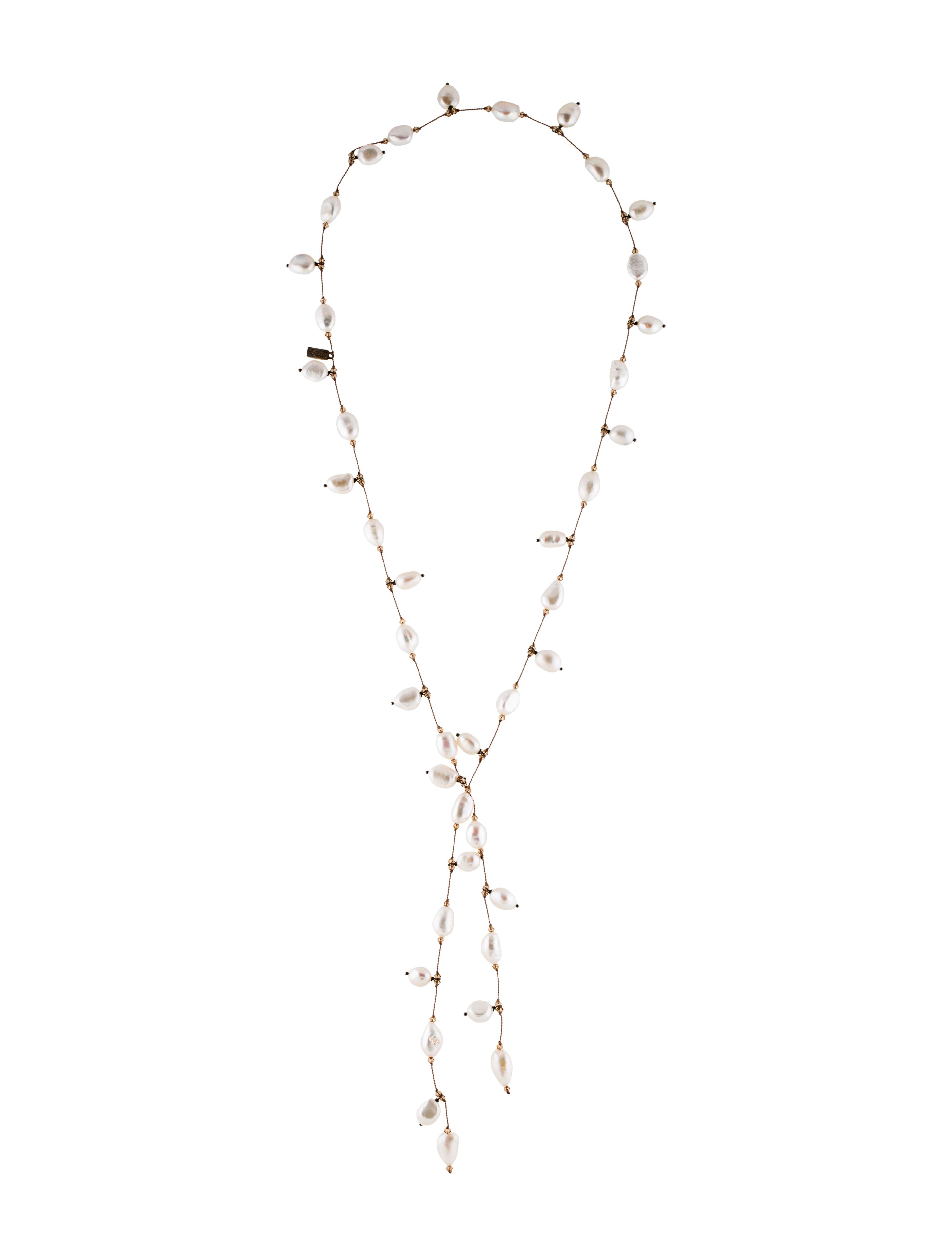 Margo Morrison Dancing Pearl Lariat Necklace b64Dkgqn9