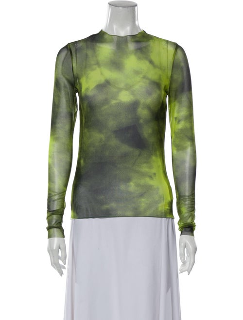 Marques' Almeida Tie-Dye Print Crew Neck Top Green