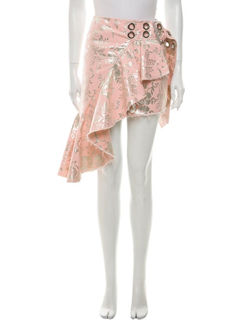 Marques' Almeida Floral Print Mini Skirt Metallic