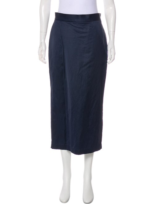 M.Martin Satin Midi Skirt Navy