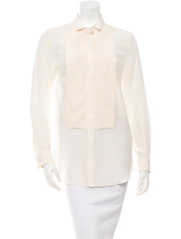 By Malene Birger Pleated Silk Blouse None