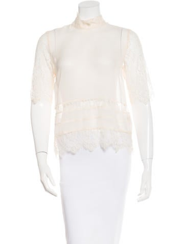 By Malene Birger Silk Lace-Accented Top None