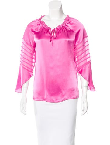 By Malene Birger Silk Ruffle-Trimmed Blouse