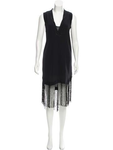 By Malene Birger Fringe-Trimmed Silk Dress None