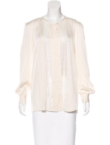 By Malene Birger Lace-Trimmed Button-Up Top None