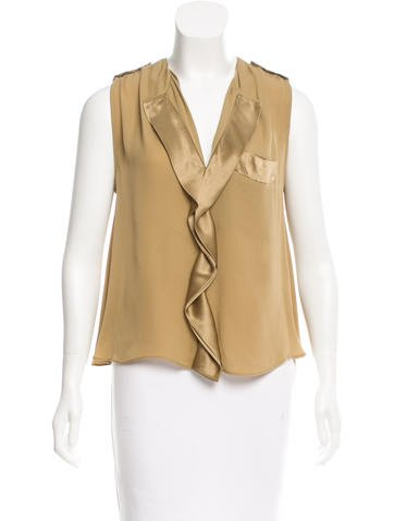 By Malene Birger Satin-Trimmed Silk Top None