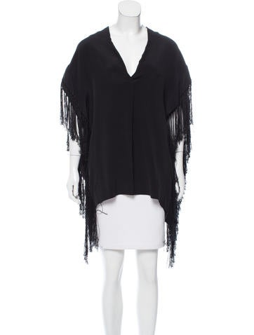 By Malene Birger Fringe-Trimmed Silk Poncho None