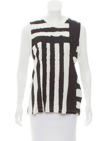 By Malene Birger Sleeveless Striped T-Shirt w/ Tags None