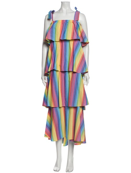 M.d.s. Stripes Striped Long Dress Yellow