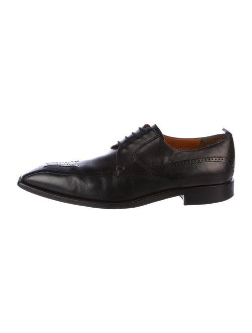 Mezlan Leather Square-Toe Derby Shoes black