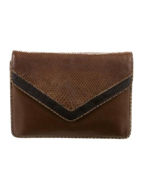 Maud Frizon Python-Trimmed Shoulder Bag gold