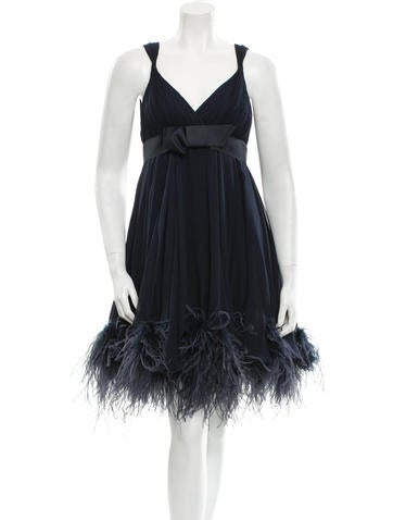 Feather-Trimmed Dress