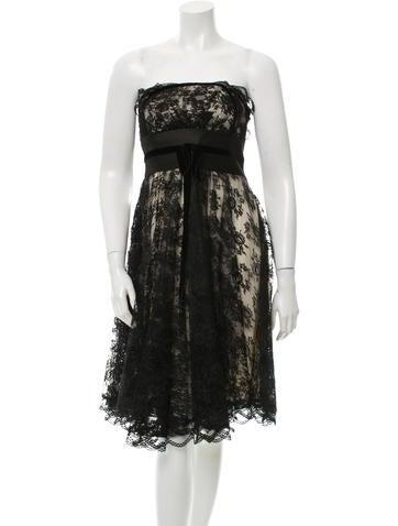 Marchesa Notte Silk Strapless Lace Dress