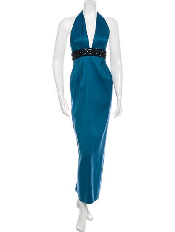 Marchesa Notte Embellished Silk Evening Dress