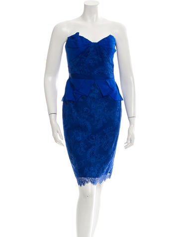 Marchesa Notte Strapless Lace Dress