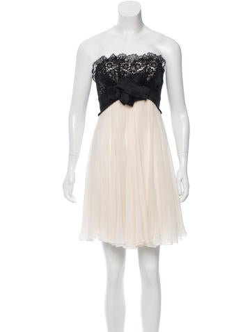 Marchesa Notte Lace-Accented Cocktail Dress