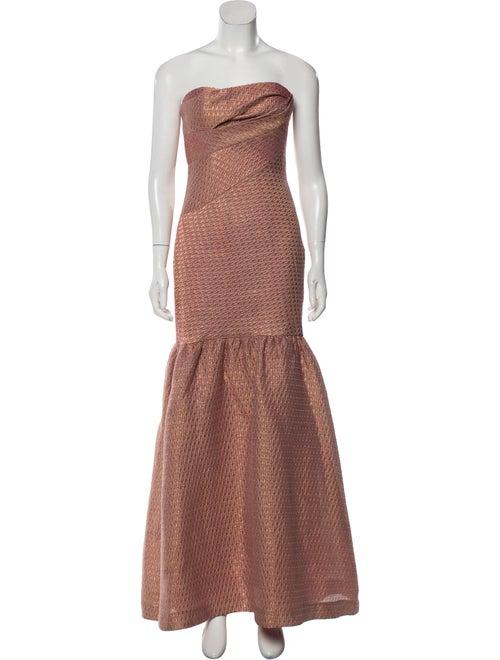 Marchesa Notte Strapless Long Dress Gold