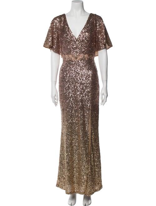 Marchesa Notte V-Neck Long Dress Gold