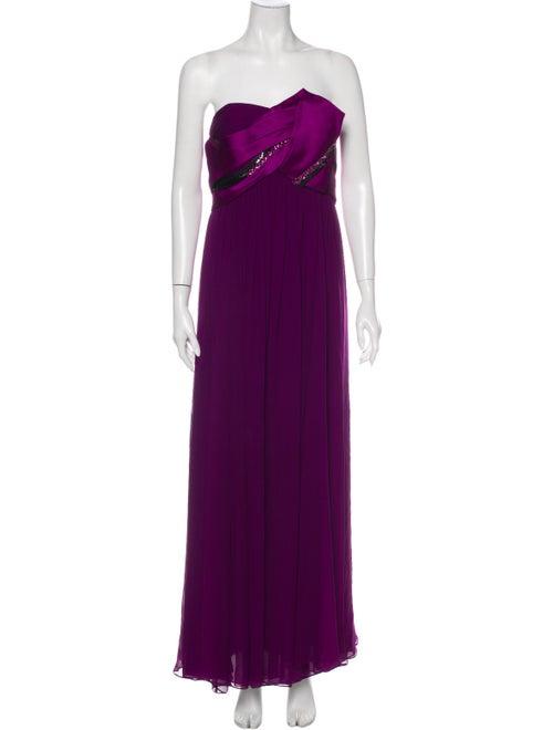 Marchesa Notte Silk Long Dress Purple