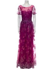Marchesa Notte Lace Pattern Long Dress w/ Tags
