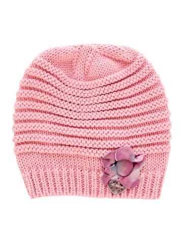 Miss Blumarine Girls' Floral-Accented Rib Knit Beanie None