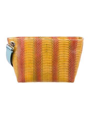 Michino Python & Leather Clutch