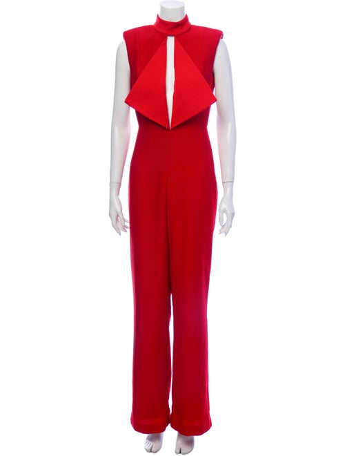 Misha Collection Plunge Neckline Jumpsuit Red