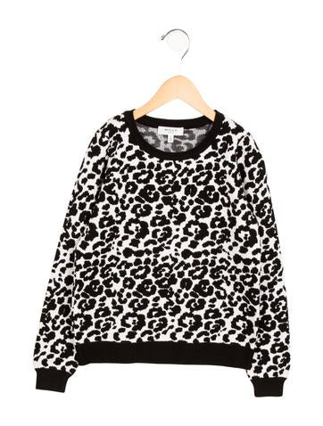 Milly Minis Girls' Leopard Patterned Crew Neck Sweater None