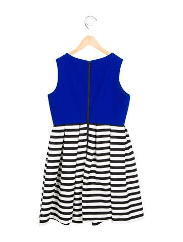 Girls' Striped Pleated Dress
