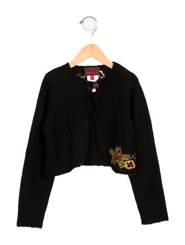 Catimini Girls' Embroidered Knit Cardigan None