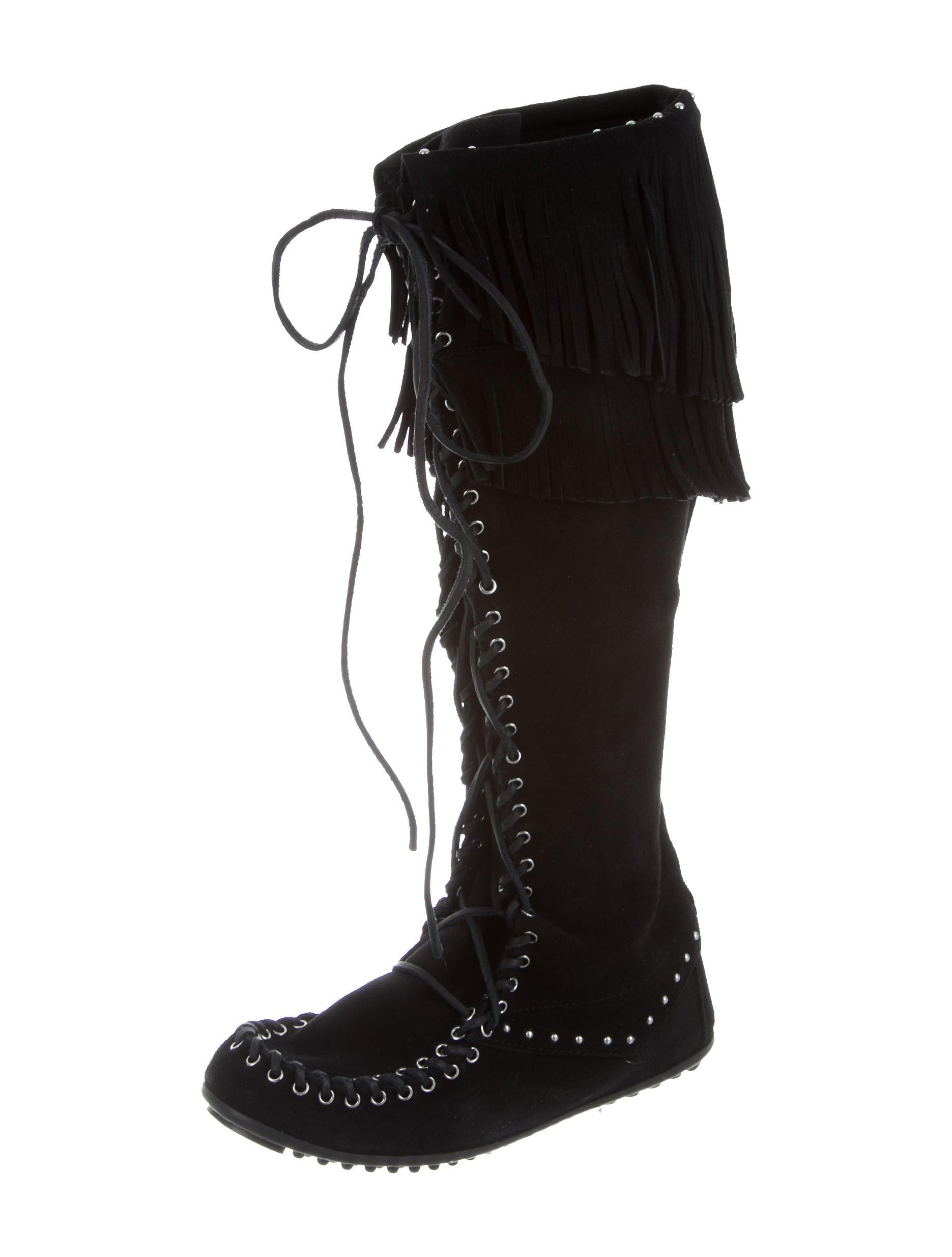 minnetonka fringe embellished suede knee high boots w