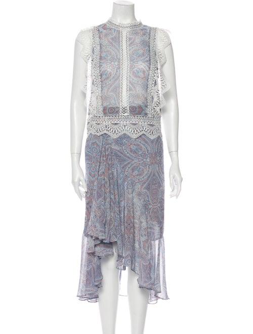 Misa Los Angeles Paisley Print Skirt Set Blue
