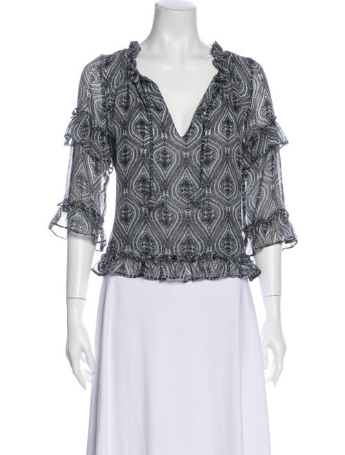 Misa Los Angeles Printed Tie Blouse Printed Blouse