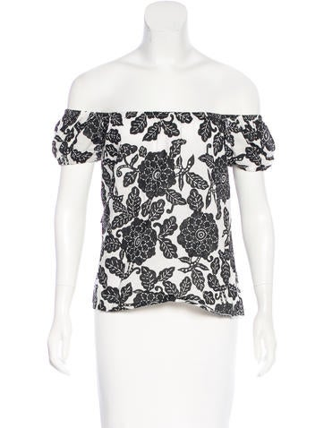 Moschino Jeans Off-The-Shoulder Printed Top None