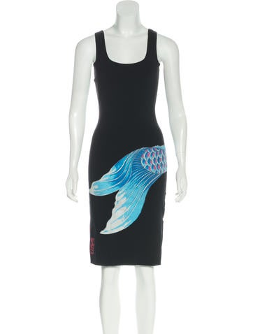 Moschino jeans koi fish sleeveless dress clothing for Koi fish dress